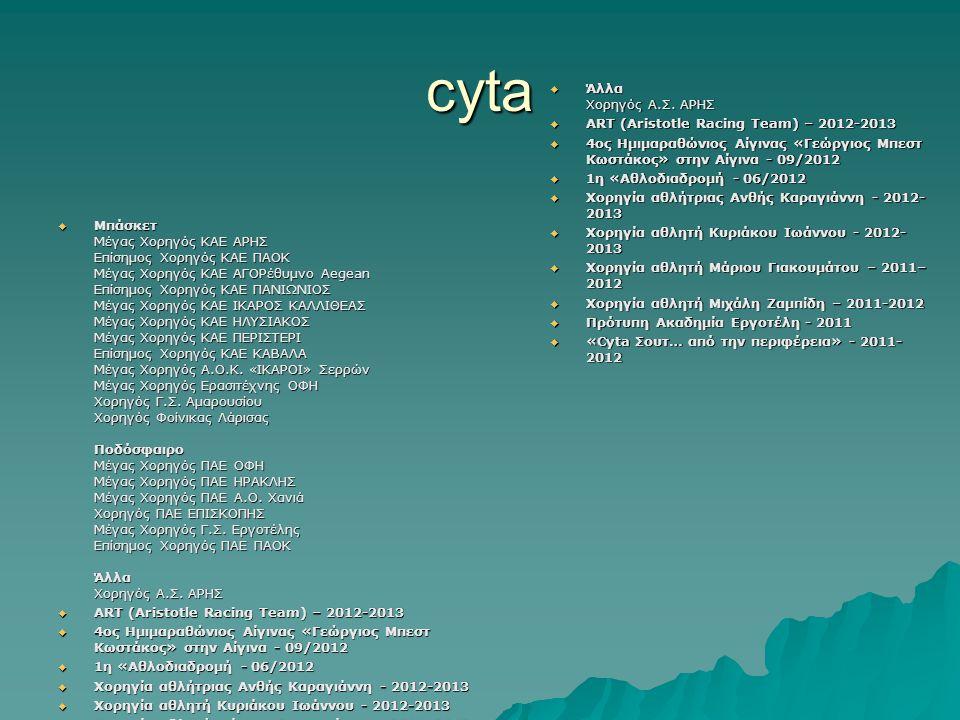 cyta Άλλα Χορηγός Α.Σ. ΑΡΗΣ ART (Aristotle Racing Team) – 2012-2013