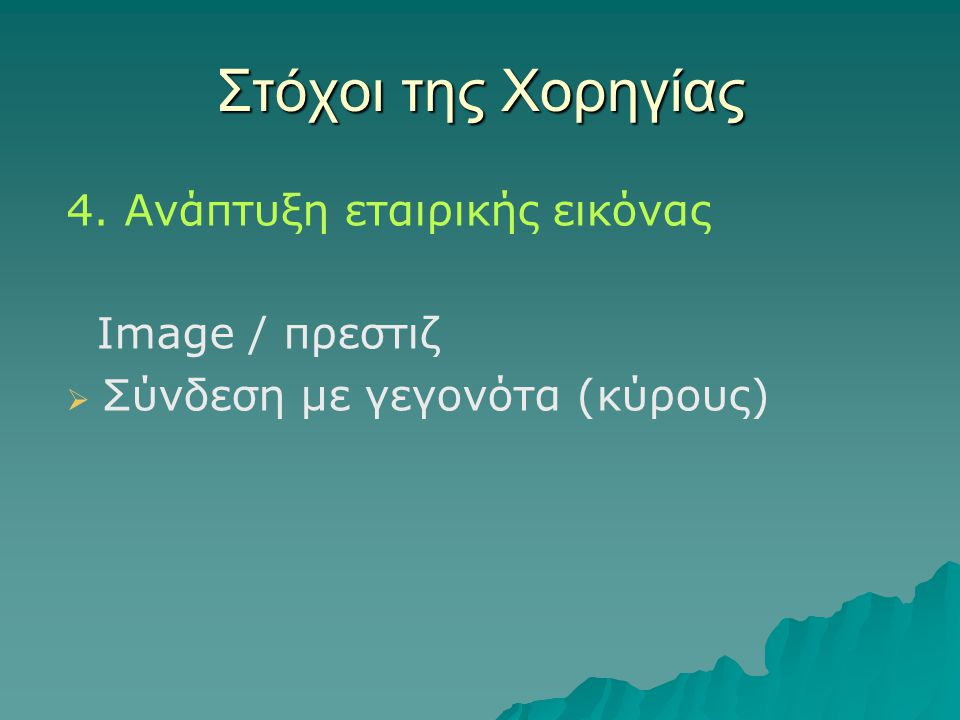 Στόχοι της Χορηγίας 4. Ανάπτυξη εταιρικής εικόνας Image / πρεστιζ