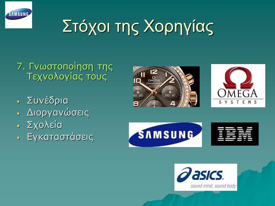 Στόχοι της Χορηγίας 7. Γνωστοποίηση της Τεχνολογίας τους Συνέδρια