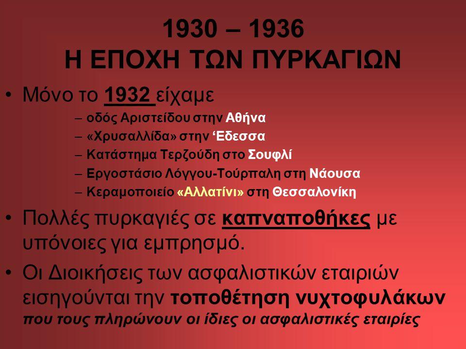 1930 – 1936 Η ΕΠΟΧΗ ΤΩΝ ΠΥΡΚΑΓΙΩΝ Μόνο το 1932 είχαμε