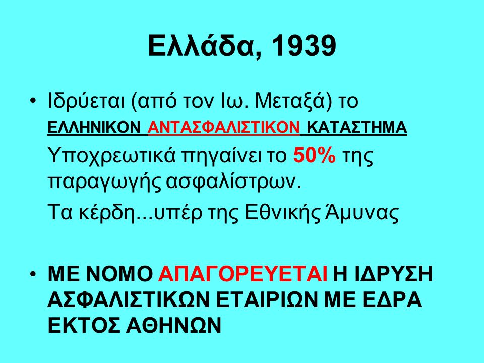 Ελλάδα, 1939 Ιδρύεται (από τον Ιω. Μεταξά) το