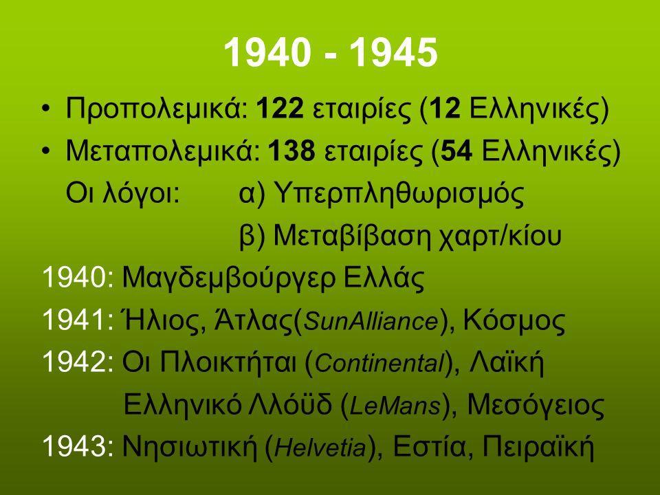 1940 - 1945 Προπολεμικά: 122 εταιρίες (12 Ελληνικές)