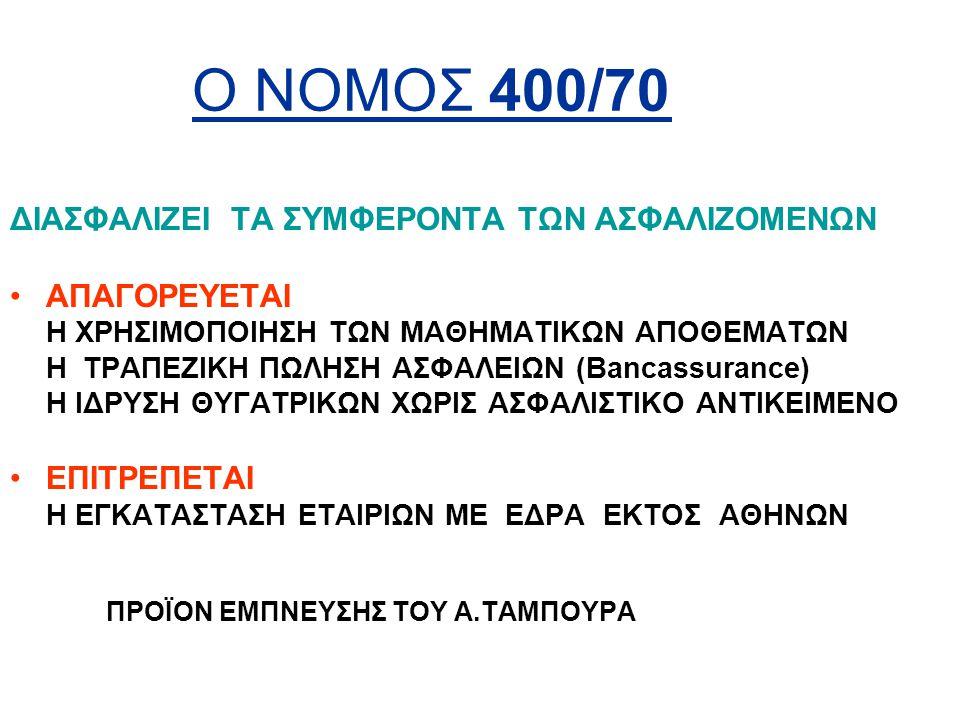 Ο ΝΟΜΟΣ 400/70 ΔΙΑΣΦΑΛΙΖΕΙ ΤΑ ΣΥΜΦΕΡΟΝΤΑ ΤΩΝ ΑΣΦΑΛΙΖΟΜΕΝΩΝ