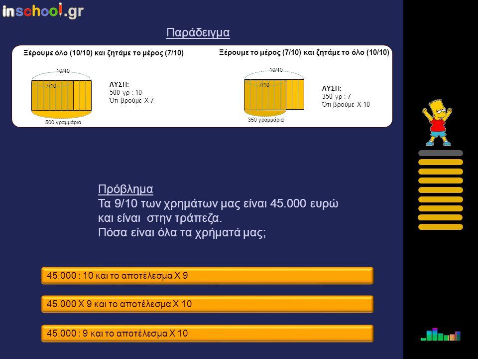 Τα 9/10 των χρημάτων μας είναι 45.000 ευρώ και είναι στην τράπεζα.