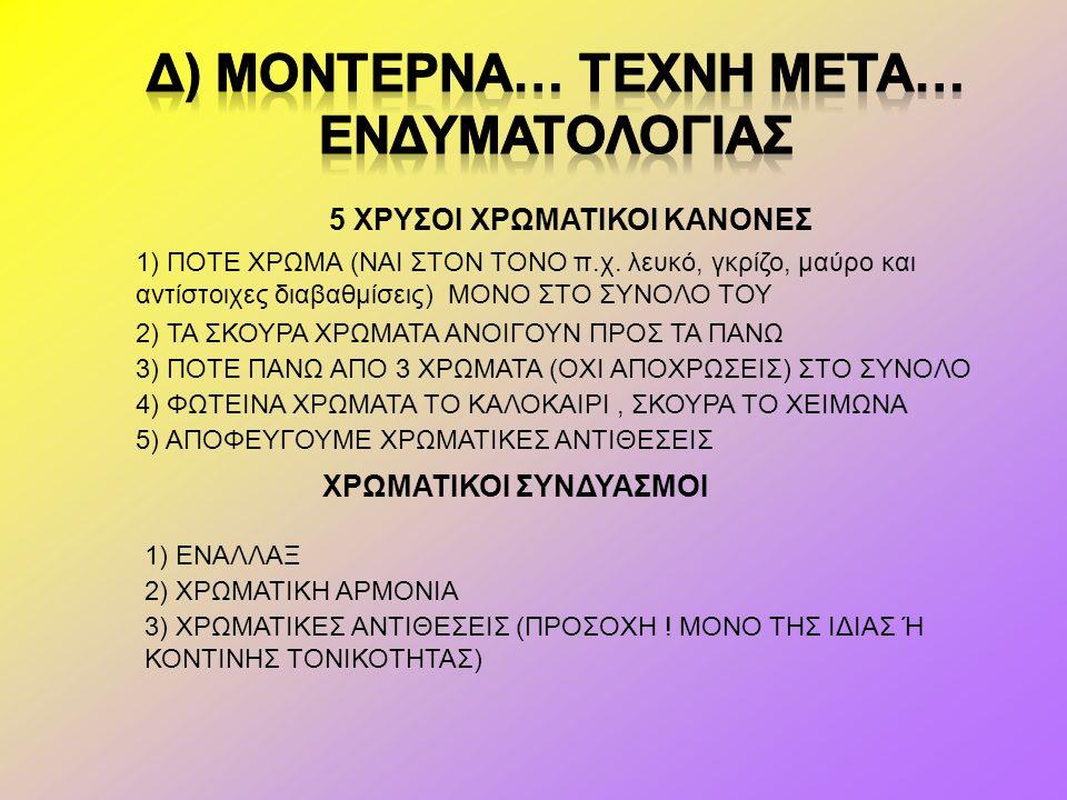Δ) Μοντερνα… Τεχνη μετα… ενδυματολογιασ