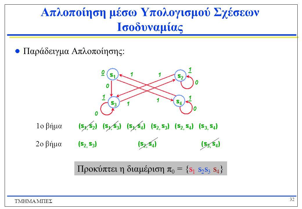 Απλοποίηση μέσω Υπολογισμού Σχέσεων Ισοδυναμίας