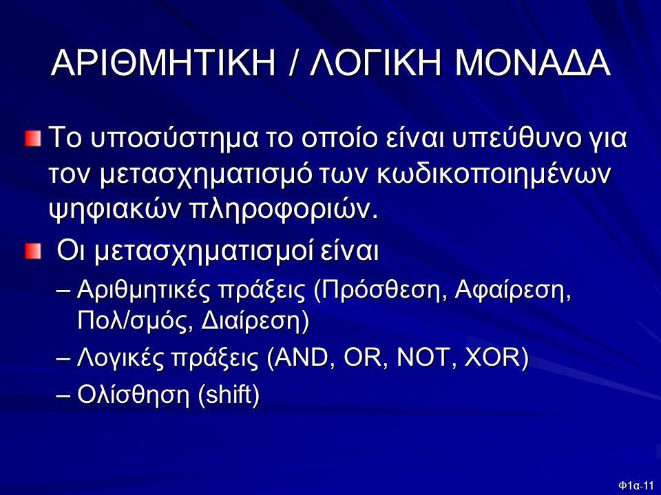 ΑΡΙΘΜΗΤΙΚΗ / ΛΟΓΙΚΗ ΜΟΝΑΔΑ