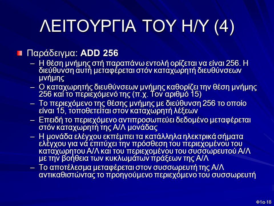 ΛΕΙΤΟΥΡΓΙΑ ΤΟΥ Η/Υ (4) Παράδειγμα: ADD 256