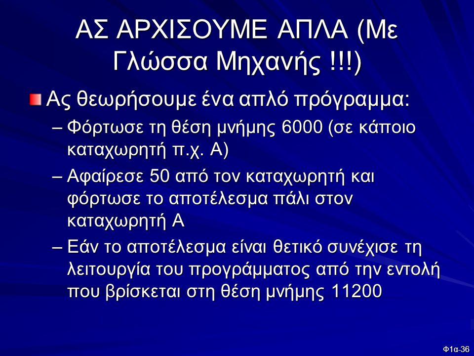 ΑΣ ΑΡΧΙΣΟΥΜΕ ΑΠΛΑ (Με Γλώσσα Μηχανής !!!)