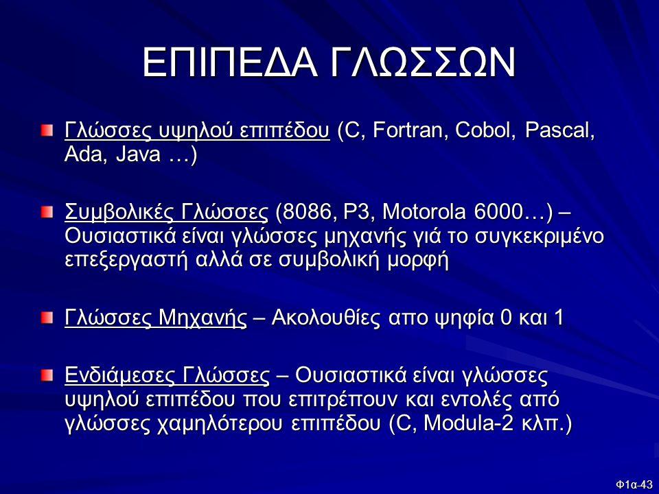ΕΠΙΠΕΔΑ ΓΛΩΣΣΩΝ Γλώσσες υψηλού επιπέδου (C, Fortran, Cobol, Pascal, Ada, Java …)