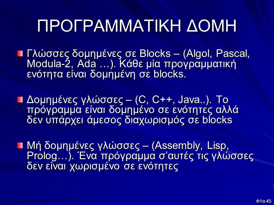 ΠΡΟΓΡΑΜΜΑΤΙΚΗ ΔΟΜΗ Γλώσσες δομημένες σε Blocks – (Algol, Pascal, Modula-2, Ada …). Κάθε μία προγραμματική ενότητα είναι δομημένη σε blocks.