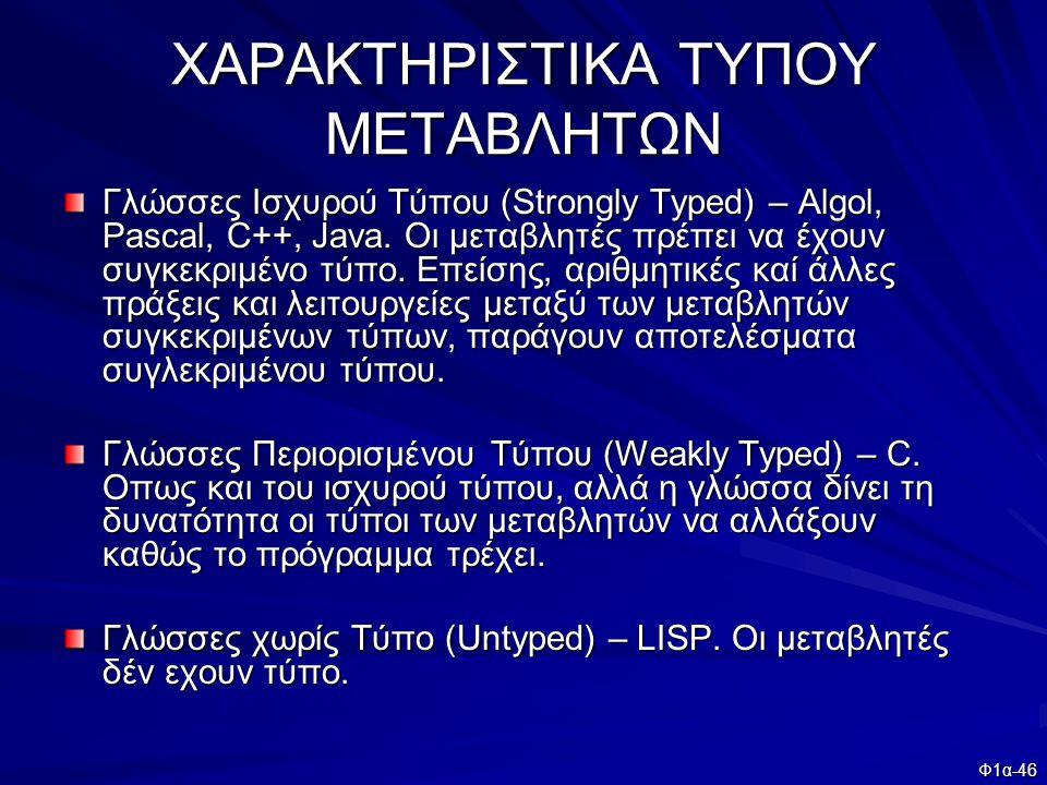 ΧΑΡΑΚΤΗΡΙΣΤΙΚΑ ΤΥΠΟΥ ΜΕΤΑΒΛΗΤΩΝ