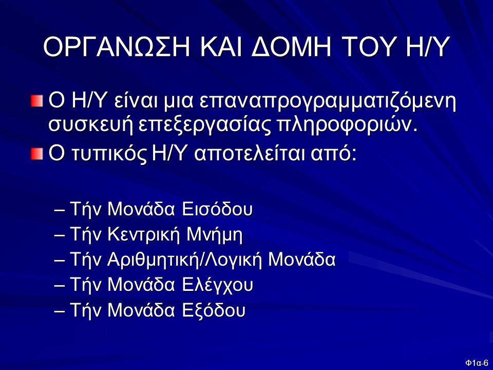 ΟΡΓΑΝΩΣΗ ΚΑΙ ΔΟΜΗ ΤΟΥ Η/Υ