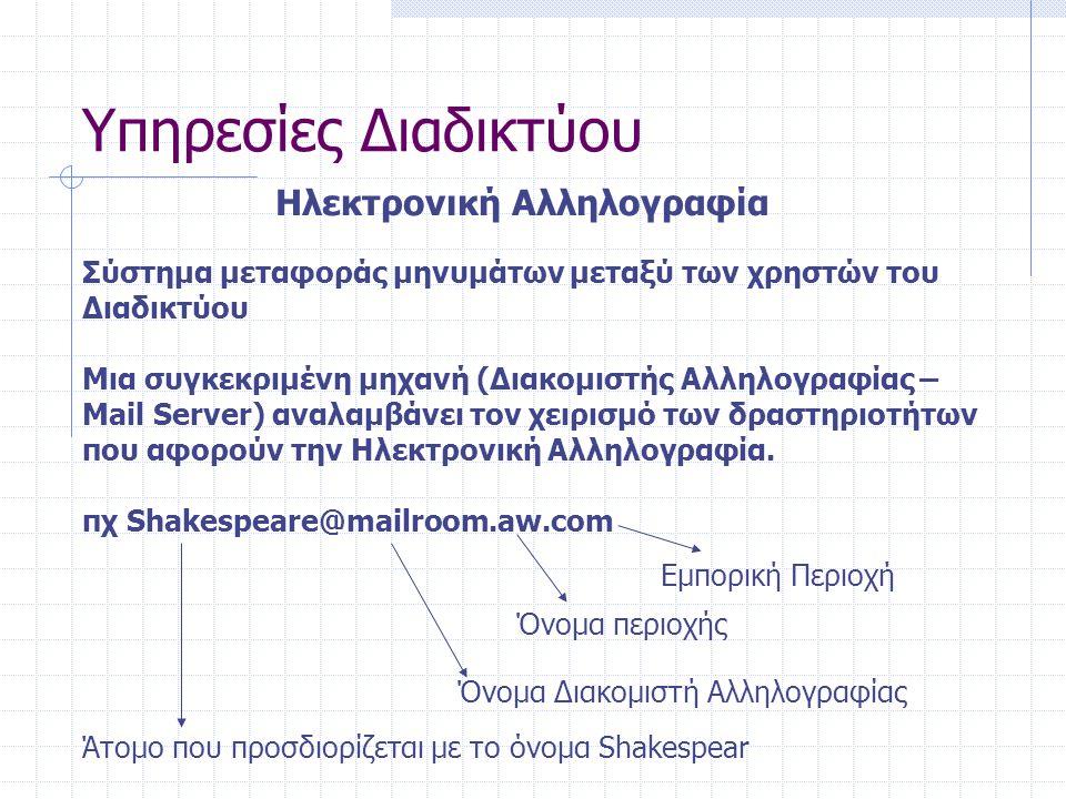 Υπηρεσίες Διαδικτύου Ηλεκτρονική Αλληλογραφία