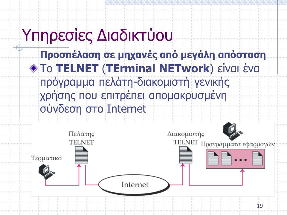 Υπηρεσίες Διαδικτύου Προσπέλαση σε μηχανές από μεγάλη απόσταση.