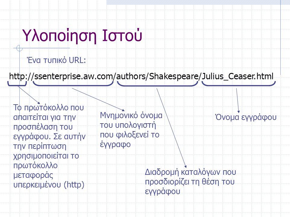 Υλοποίηση Ιστού Ένα τυπικό URL: http://ssenterprise.aw.com/authors/Shakespeare/Julius_Ceaser.html.