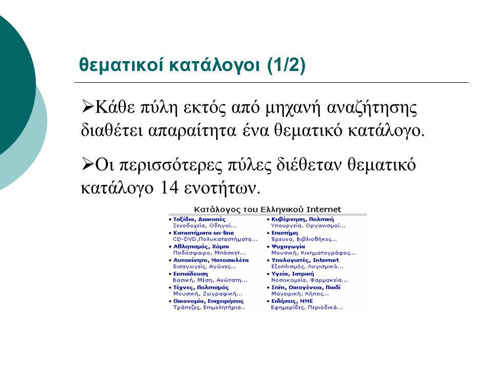 θεματικοί κατάλογοι (1/2)
