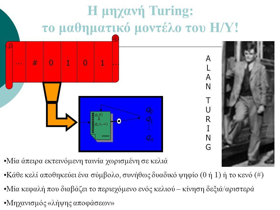 Η μηχανή Turing: το μαθηματικό μοντέλο του Η/Υ!