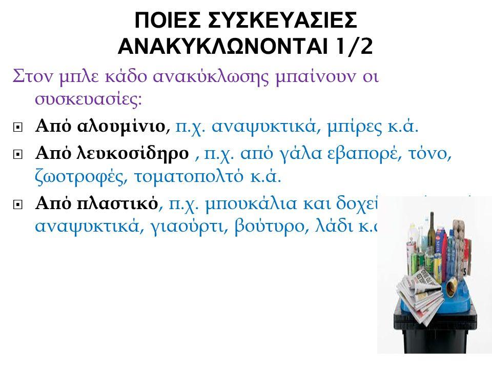 ΠΟΙΕΣ ΣΥΣΚΕΥΑΣΙΕΣ ΑΝΑΚΥΚΛΩΝΟΝΤΑΙ 1/2