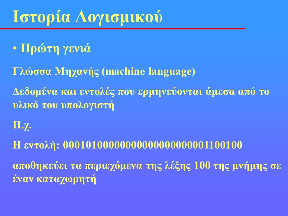 Ιστορία Λογισμικού Πρώτη γενιά Γλώσσα Μηχανής (machine language)