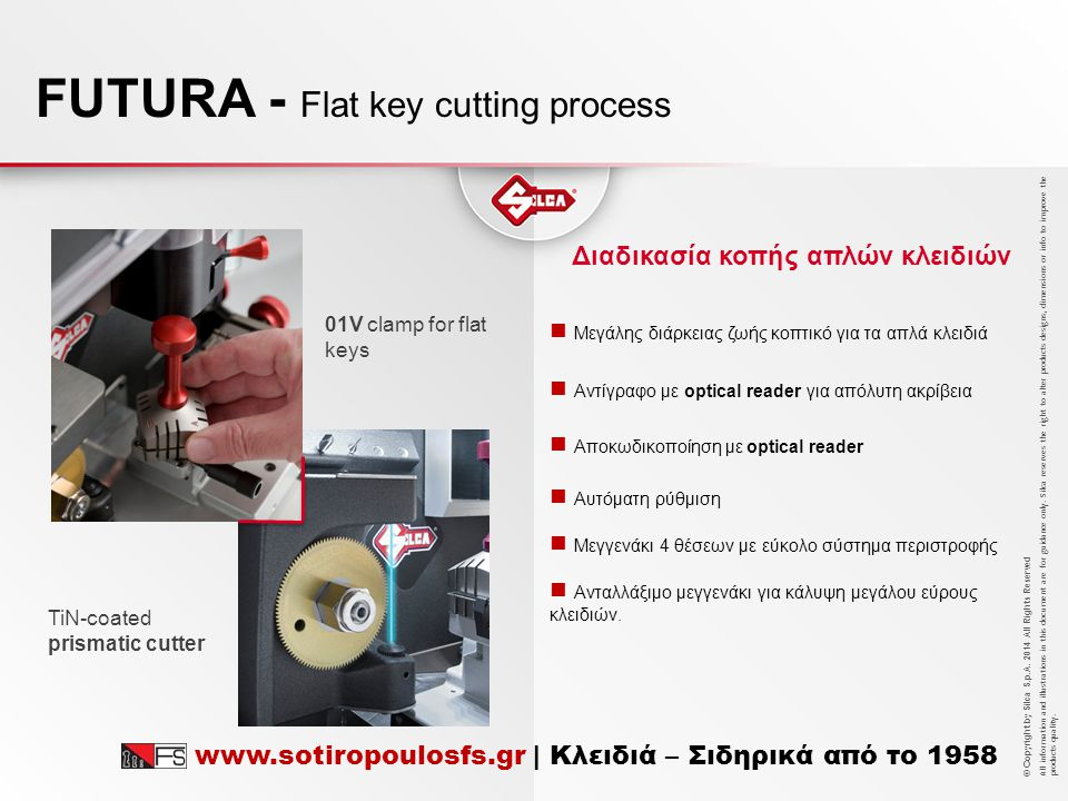 FUTURA - Flat key cutting process