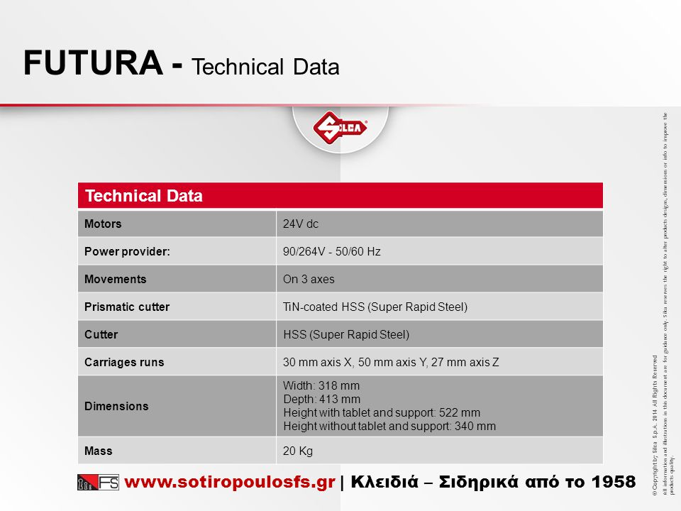 FUTURA - Technical Data
