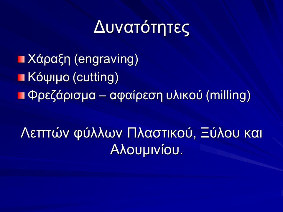 Λεπτών φύλλων Πλαστικού, Ξύλου και Αλουμινίου.
