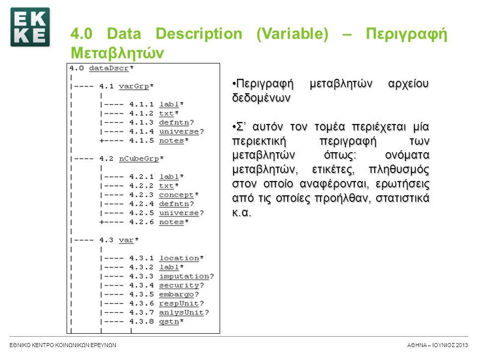 4.0 Data Description (Variable) – Περιγραφή Μεταβλητών
