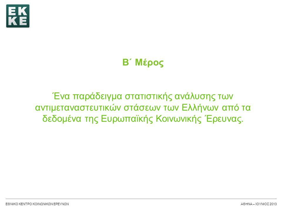 Β΄ Μέρος Ένα παράδειγμα στατιστικής ανάλυσης των αντιμεταναστευτικών στάσεων των Ελλήνων από τα δεδομένα της Ευρωπαϊκής Κοινωνικής Έρευνας.
