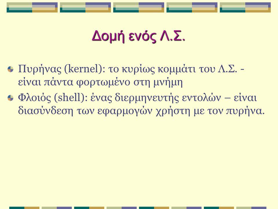 Δομή ενός Λ.Σ. Πυρήνας (kernel): το κυρίως κομμάτι του Λ.Σ. - είναι πάντα φορτωμένο στη μνήμη.