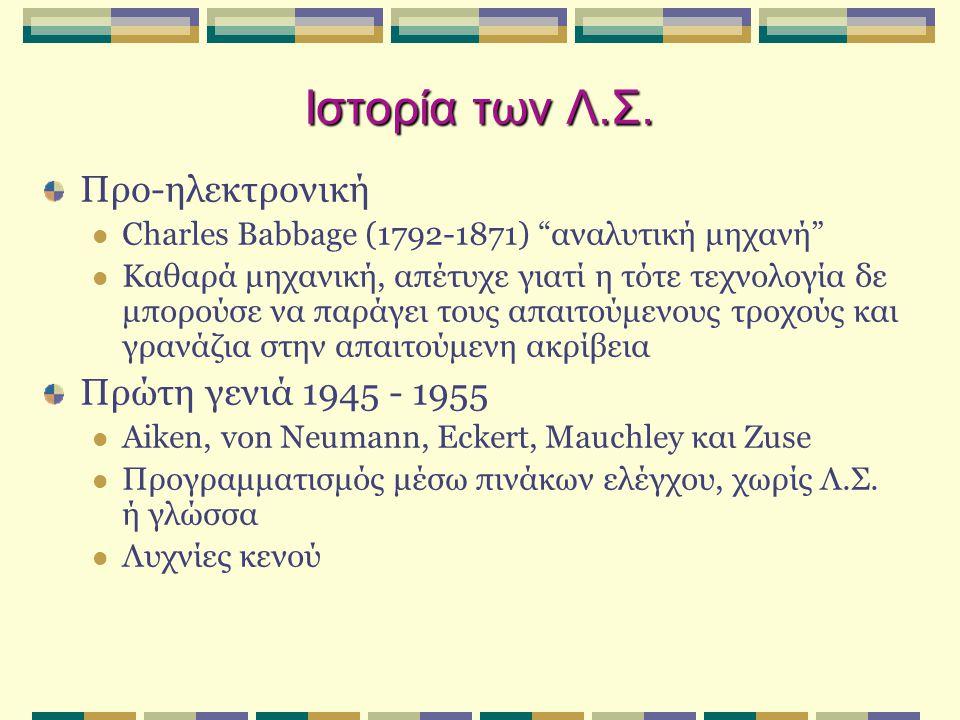 Ιστορία των Λ.Σ. Προ-ηλεκτρονική Πρώτη γενιά 1945 - 1955