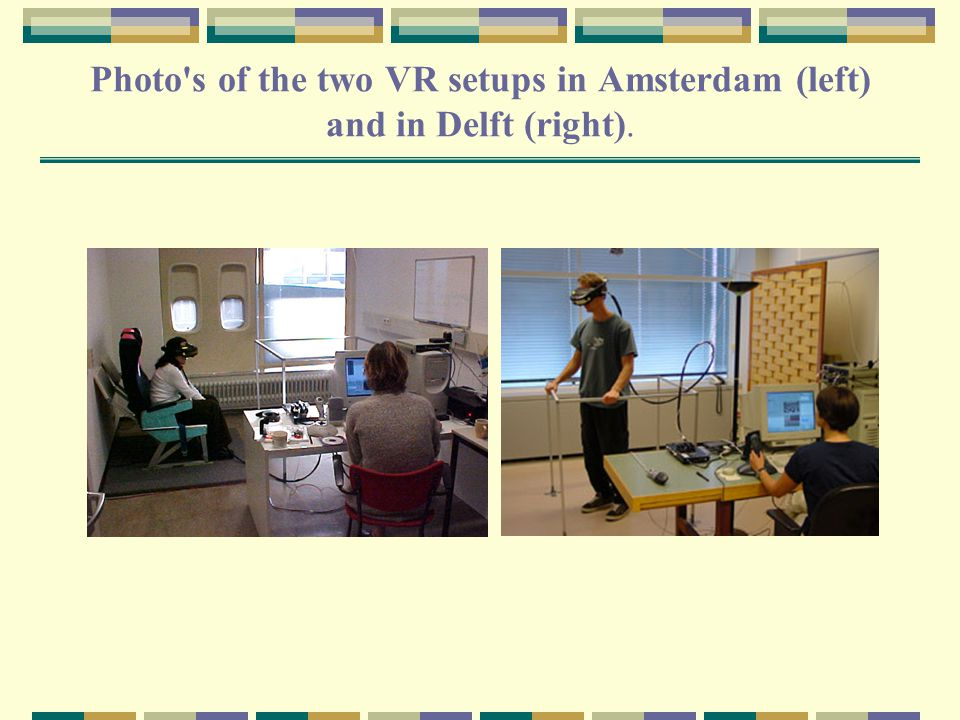 Photo s of the two VR setups in Amsterdam (left) and in Delft (right).