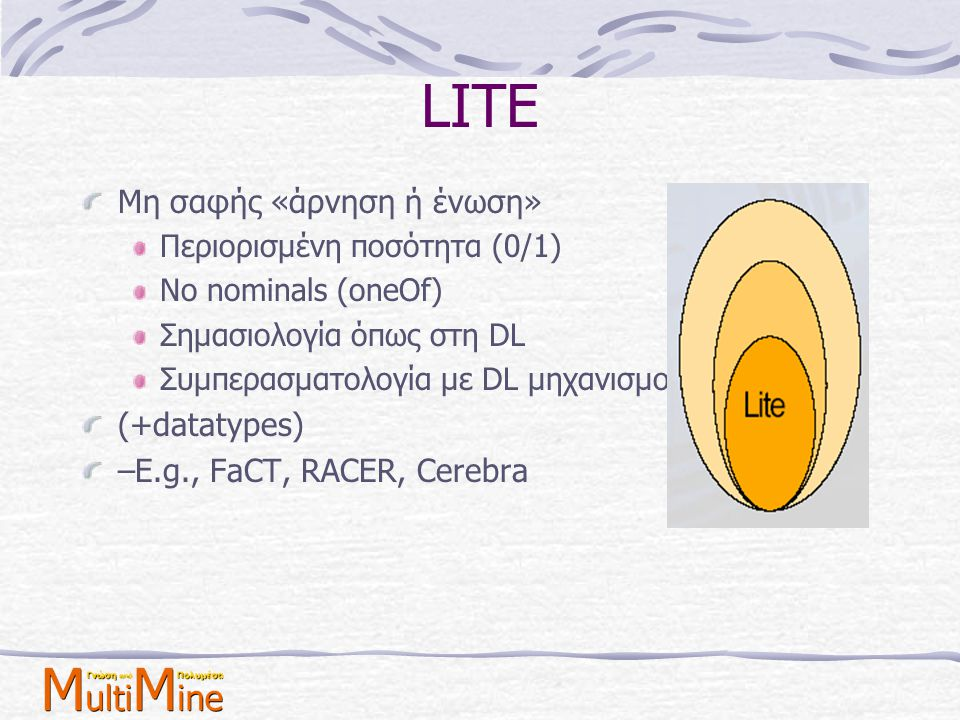 LITE Μη σαφής «άρνηση ή ένωση» (+datatypes)