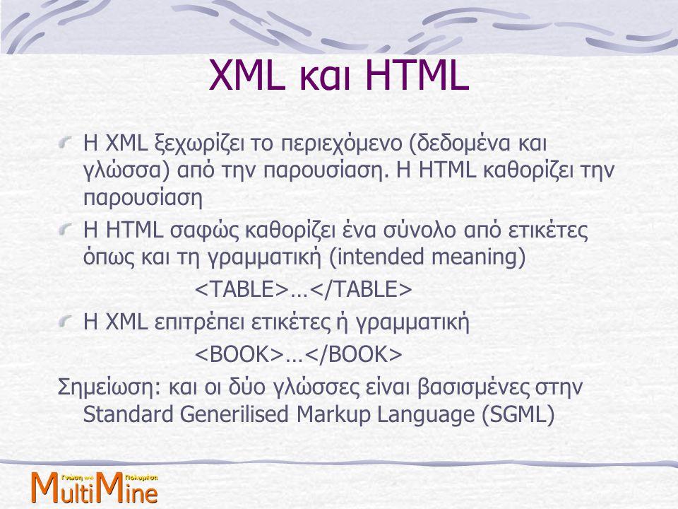 XML και HTML Η XML ξεχωρίζει το περιεχόμενο (δεδομένα και γλώσσα) από την παρουσίαση. Η HTML καθορίζει την παρουσίαση.