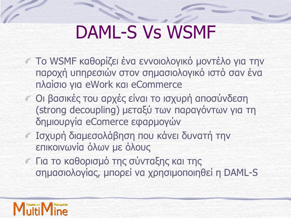 DAML-S Vs WSMF Το WSMF καθορίζει ένα εννοιολογικό μοντέλο για την παροχή υπηρεσιών στον σημασιολογικό ιστό σαν ένα πλαίσιο για eWork και eCommerce.