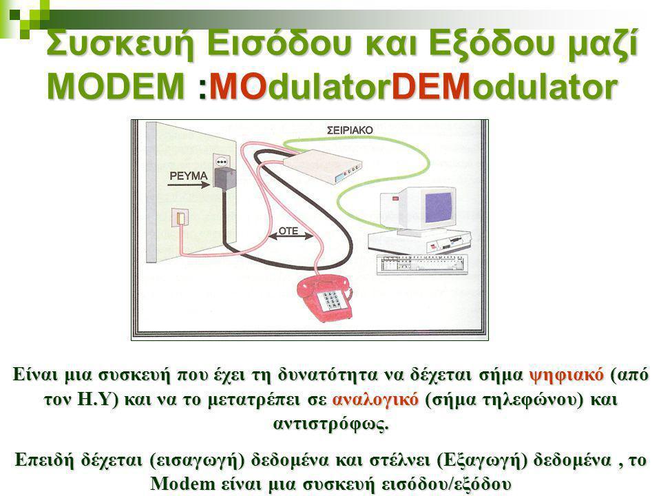 Συσκευή Εισόδου και Εξόδου μαζί MODEM :MOdulatorDEModulator