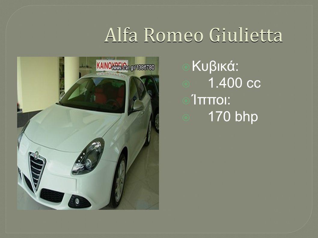 Alfa Romeo Giulietta Κυβικά: 1.400 cc Ίπποι: 170 bhp