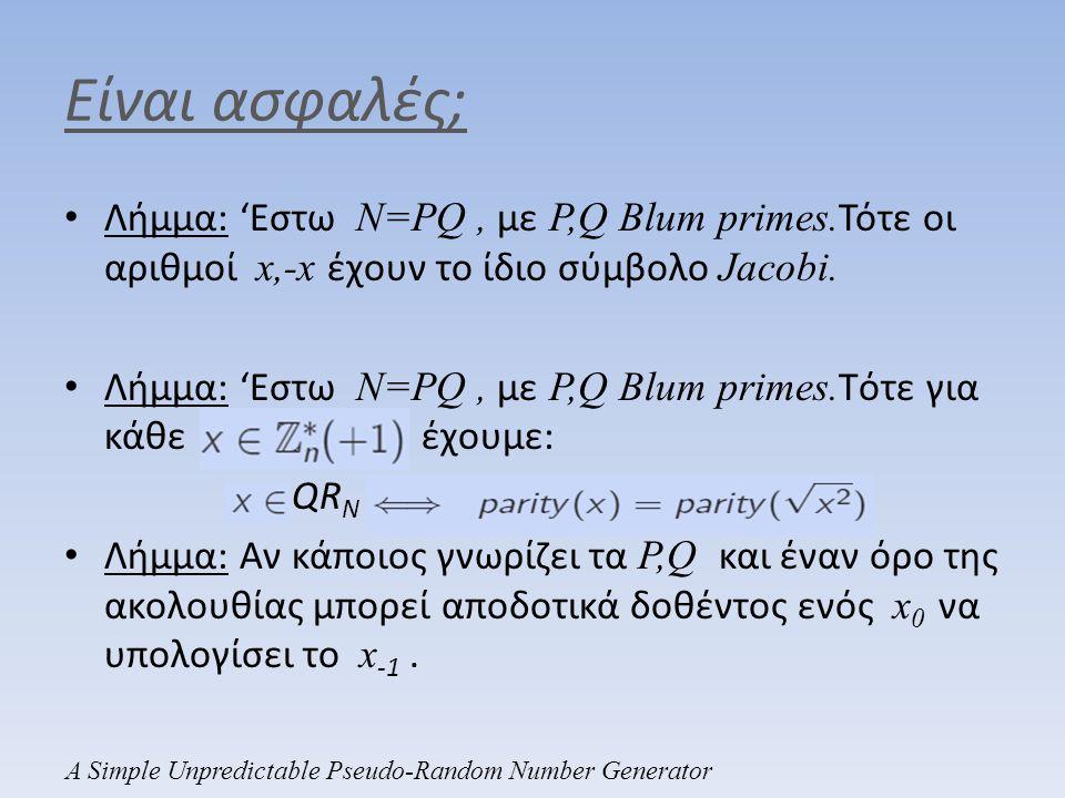 Είναι ασφαλές; Λήμμα: 'Εστω N=PQ , με P,Q Blum primes.Τότε οι αριθμοί x,-x έχουν το ίδιο σύμβολο Jacobi.