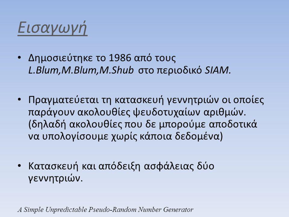 Εισαγωγή Δημοσιεύτηκε το 1986 από τους L.Blum,M.Blum,M.Shub στο περιοδικό SIAM.