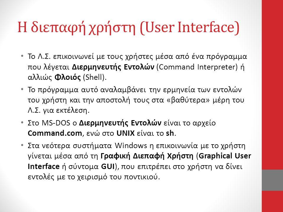 Η διεπαφή χρήστη (User Interface)