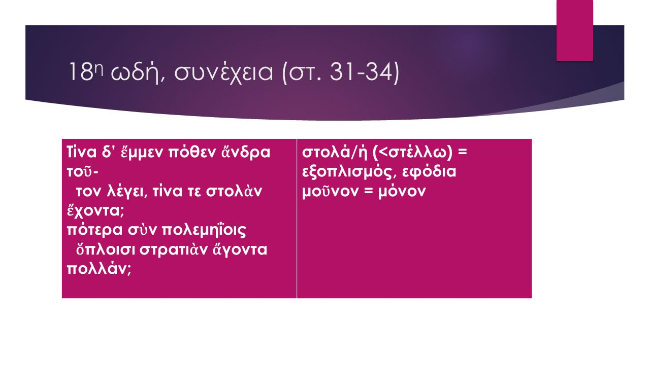 18η ωδή, συνέχεια (στ. 31-34) Τίνα δ' ἔμμεν πόθεν ἄνδρα τοῦ-