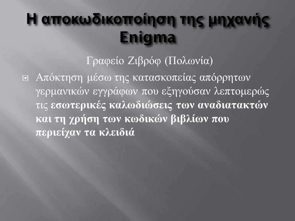 Η αποκωδικοποίηση της μηχανής Enigma