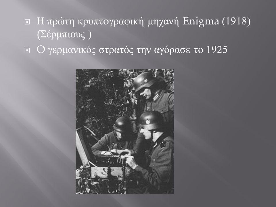 Η πρώτη κρυπτoγραφική μηχανή Enigma (1918) (Σέρμπιους )