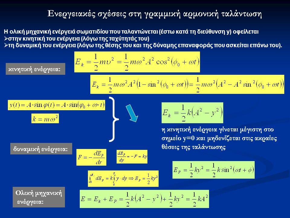 Ενεργειακές σχέσεις στη γραμμική αρμονική ταλάντωση
