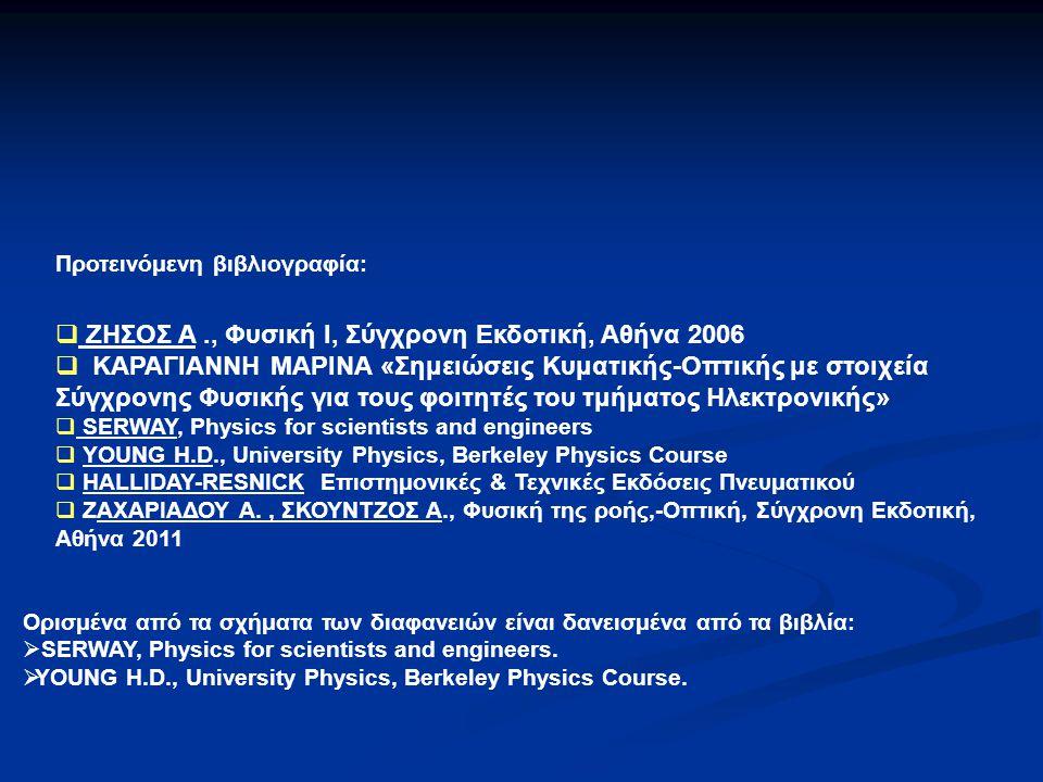 ΖΗΣΟΣ A ., Φυσική Ι, Σύγχρονη Εκδοτική, Αθήνα 2006
