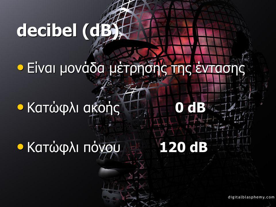 decibel (dB) Είναι μονάδα μέτρησης της έντασης Κατώφλι ακοής 0 dB