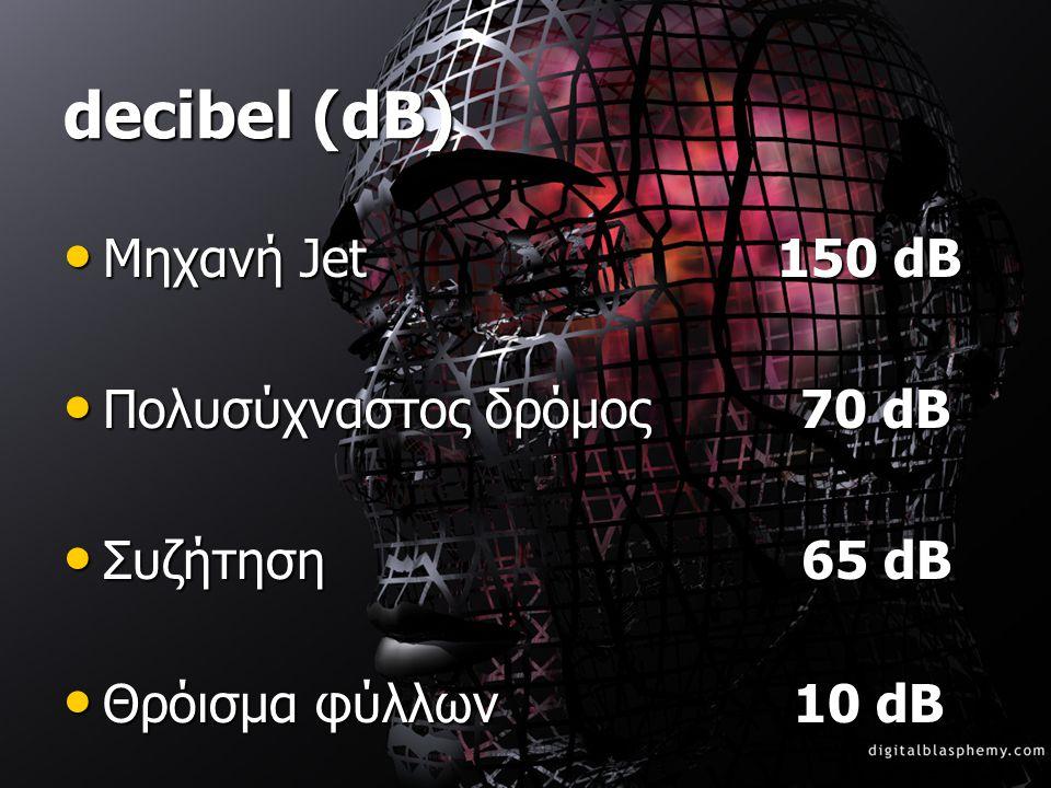 decibel (dB) Μηχανή Jet 150 dB Πολυσύχναστος δρόμος 70 dB