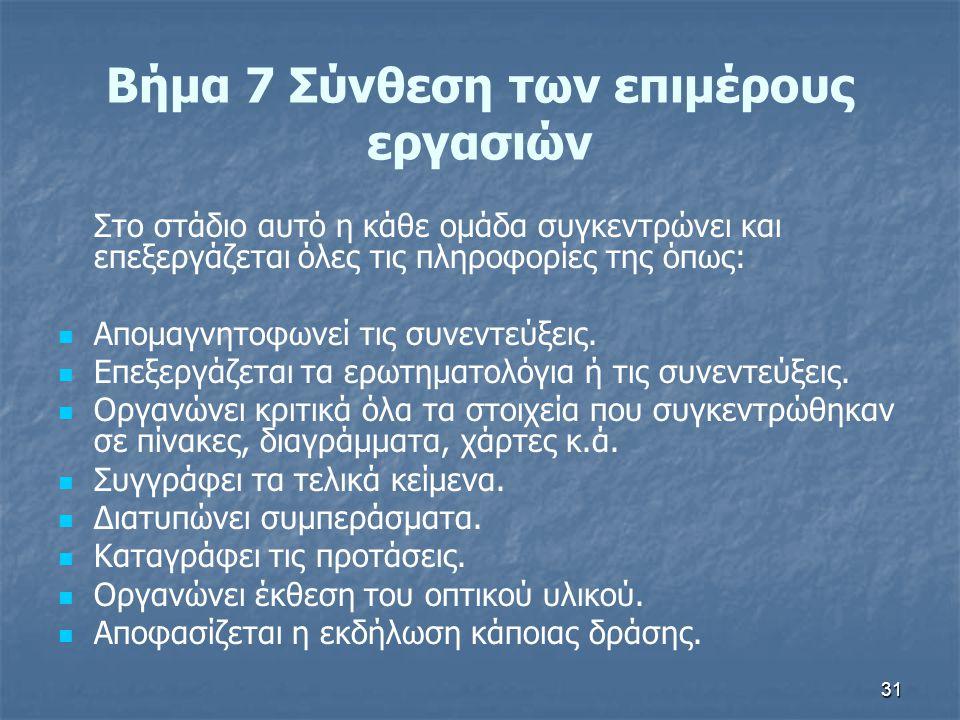 Βήμα 7 Σύνθεση των επιμέρους εργασιών