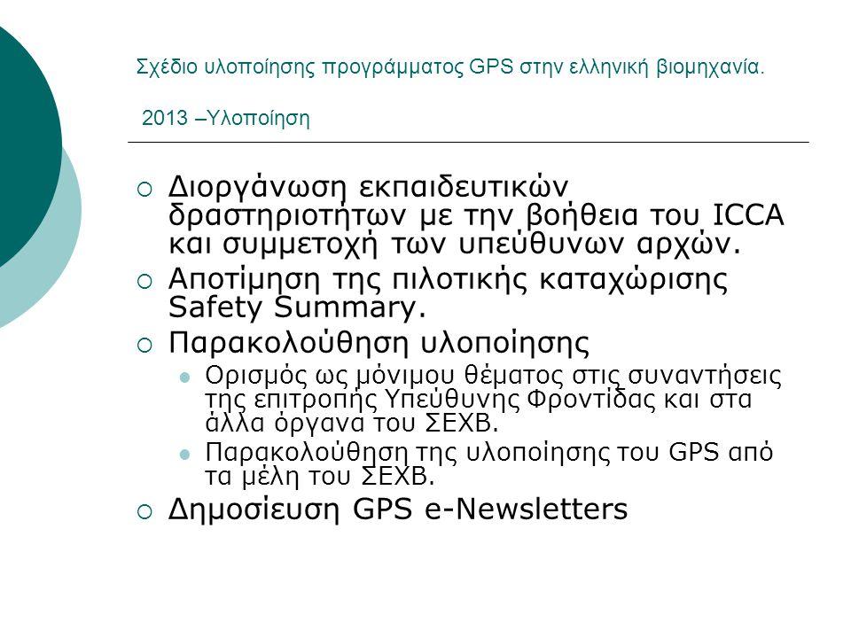 Αποτίμηση της πιλοτικής καταχώρισης Safety Summary.