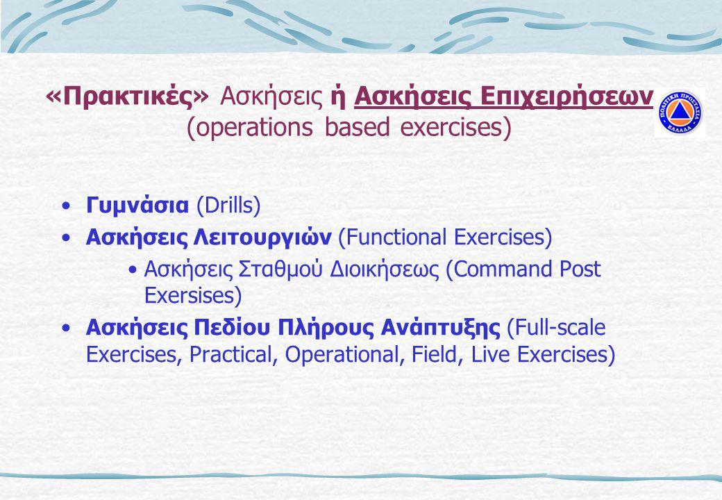 «Πρακτικές» Ασκήσεις ή Ασκήσεις Επιχειρήσεων (operations based exercises)